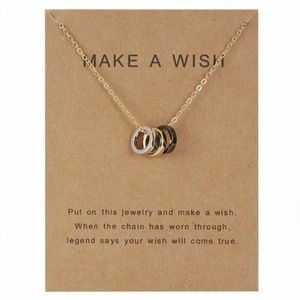 Jewelry - Make a wish Gold tone Tri Ring charm necklace